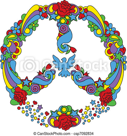 Peace symbol  with flowers and star - csp7092834