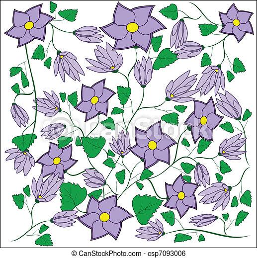 Violet flower with leaflets, buds - csp7093006