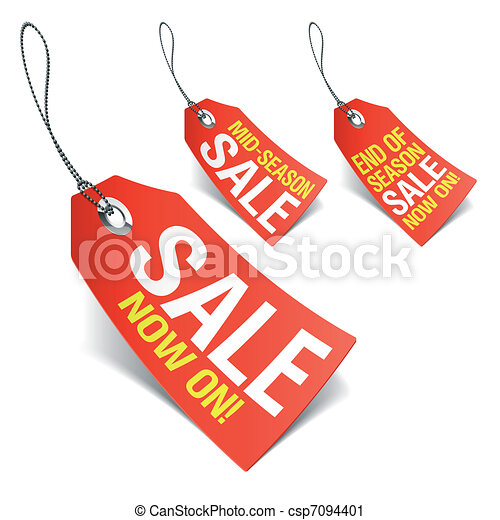 Sale now on and Season sale tags - csp7094401