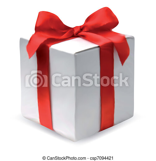 Present box with red bow. Vector - csp7094421