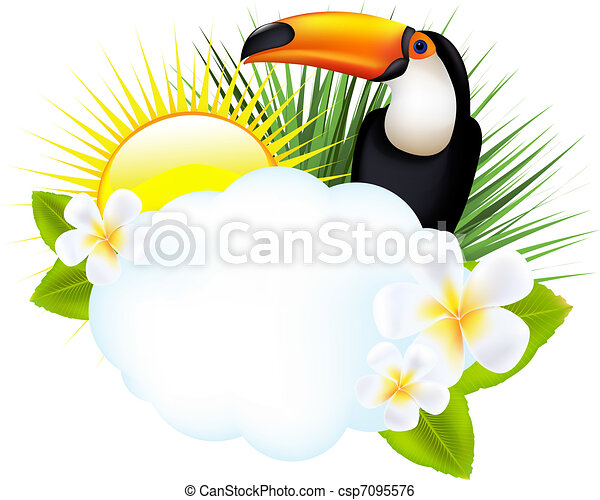 Tropical Illustration With Toucan - csp7095576