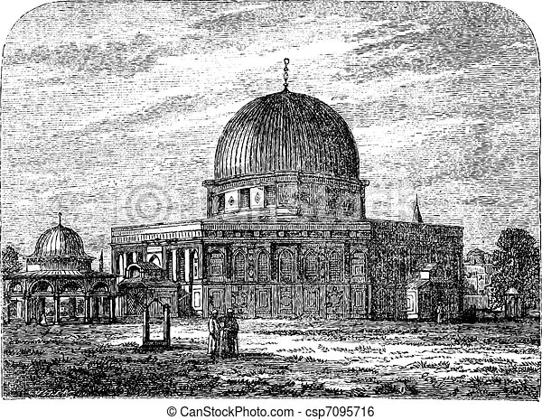 Dome of the Rock in Jerusalem Israel vintage engraving - csp7095716