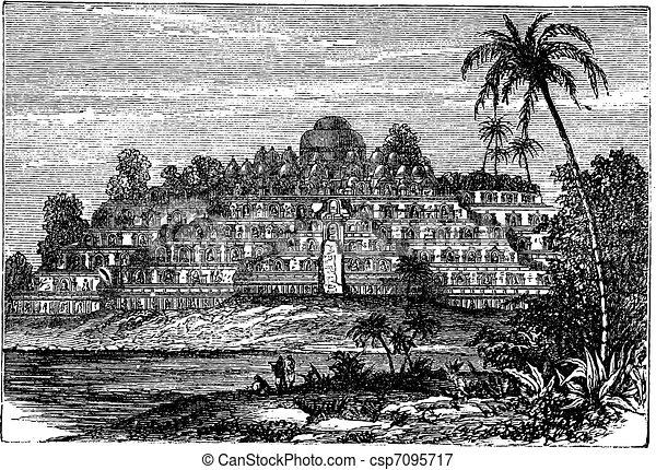 Borobudur or Barabudur in Central Java  Indonesia vintage engraving - csp7095717
