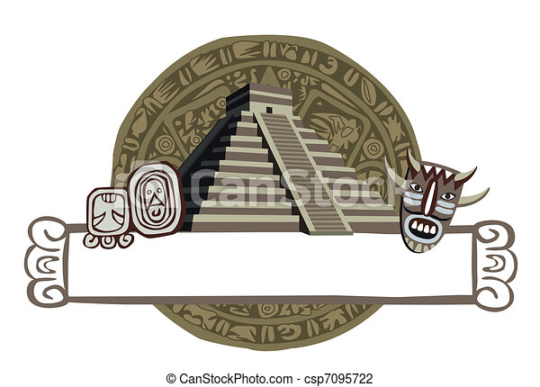 Antique Mayan Pyramid and Glyphs - csp7095722