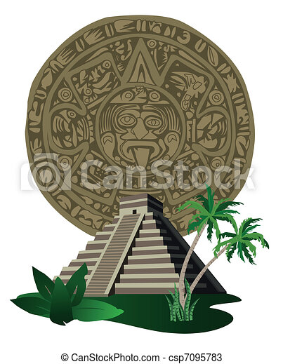 Antique Mayan Pyramid and Calendar  - csp7095783