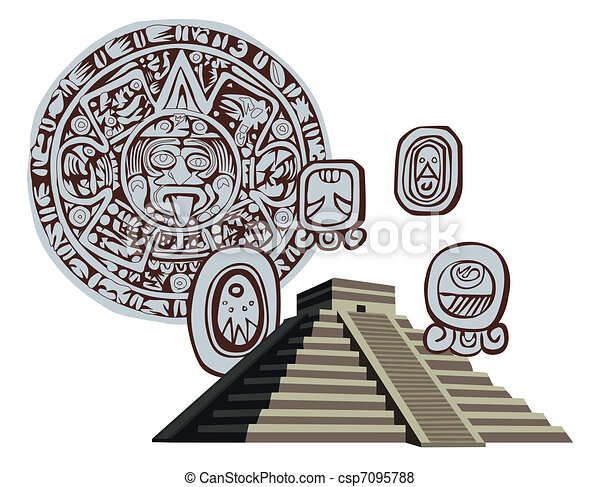Antique Mayan Pyramid and Glyphs - csp7095788