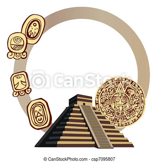 Antique Mayan Pyramid and Glyphs  - csp7095807