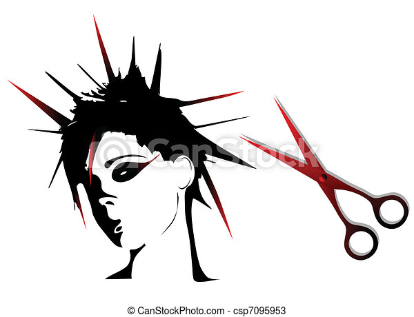 Woman punk hairstyles  - csp7095953