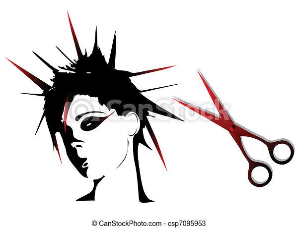 Woman punk hairstyles  - csp7095953