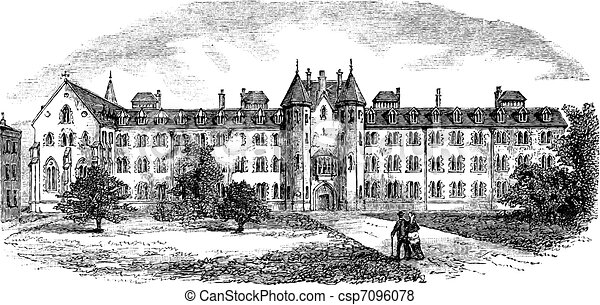 St Patrick's College or Maynooth College in Ireland vintage engraving - csp7096078