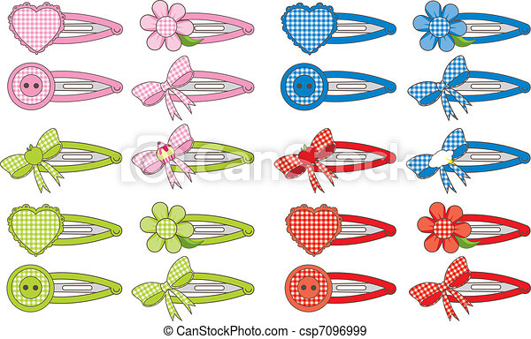 Stock Illustration Of Gingham Fashion Hair Clips - Illustration Of A Variety Of... Csp7096999 ...