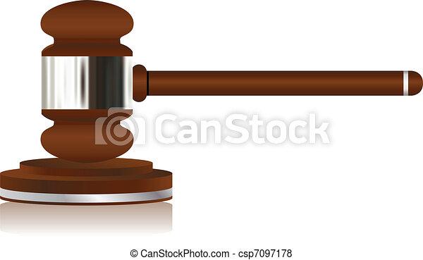 Wooden Justice Gavel - csp7097178