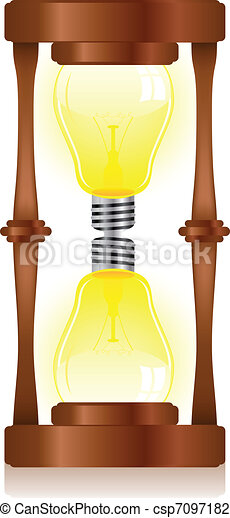 Creativity Hourglass with Light Bulb - csp7097182