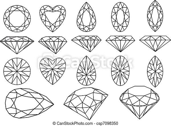 Vector Clip Art de vector, diamante, Conjunto - Conjunto ...