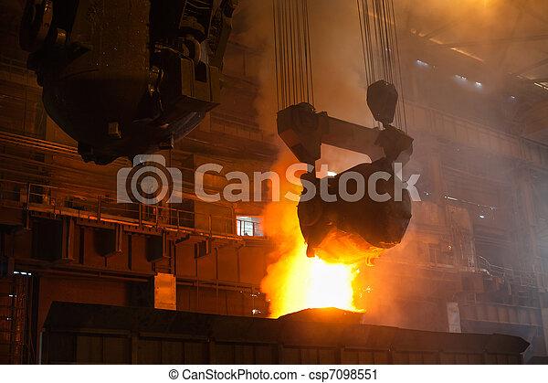 Smelting metal in iron mill - csp7098551