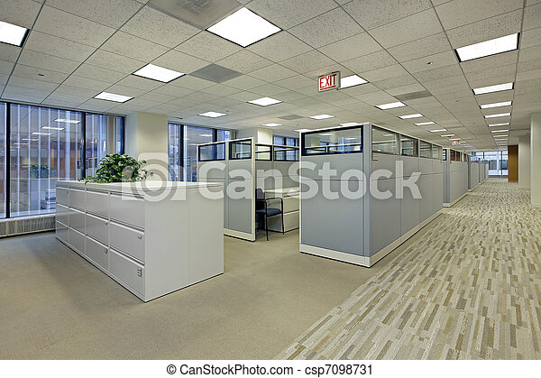Office area with cubicles - csp7098731