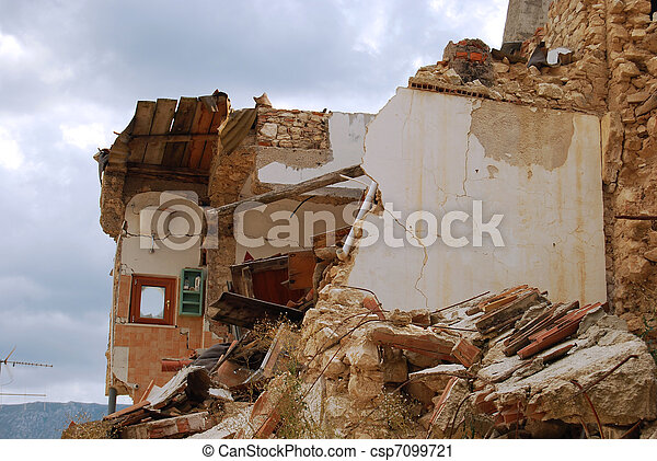 The rubble of the earthquake in Abruzzo (Italy) - csp7099721