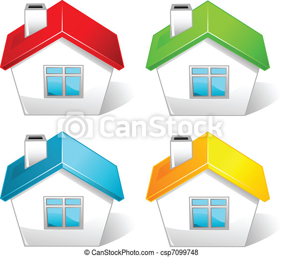 Colored house icons - csp7099748