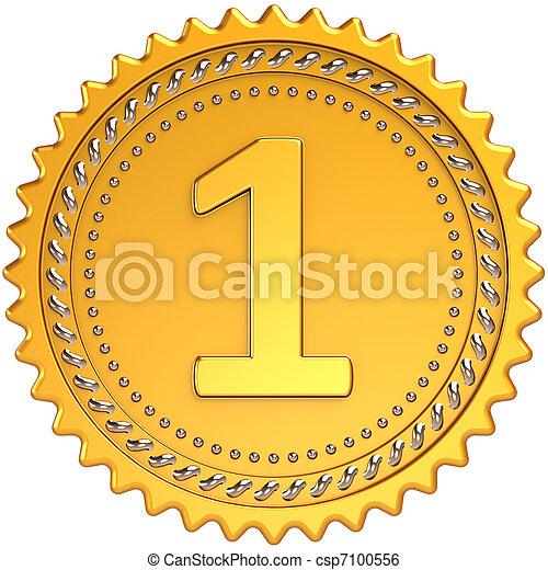Medal golden first place award - csp7100556