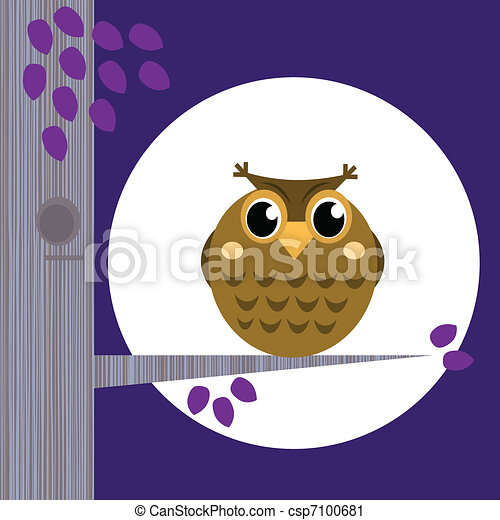 Cute Halloween Owl on Tree Branch with full moon behind  - csp7100681
