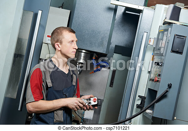worker at machining tool workshop - csp7101221