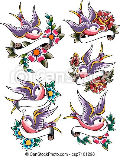Illustration de tatouage hirondelle ensemble hirondelle tatouage csp7101298 - Tatouage hirondelle old school ...