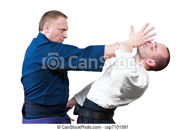 Sparring of two jujitsu fighters - csp7101591