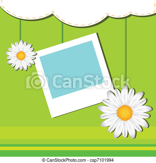 Card with frame and camomile - csp7101994