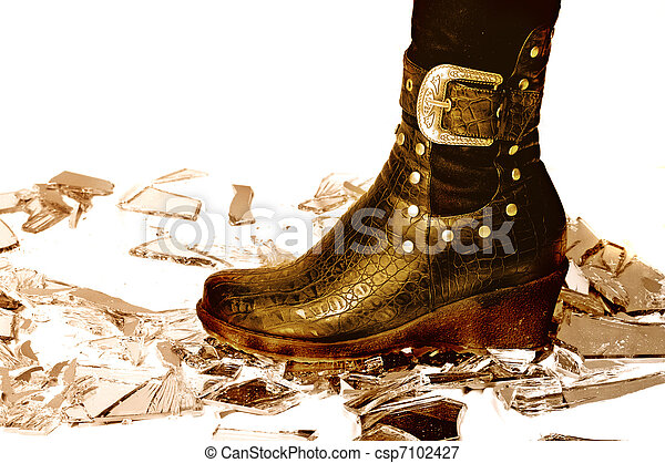 Leather boot on broken mirror - csp7102427