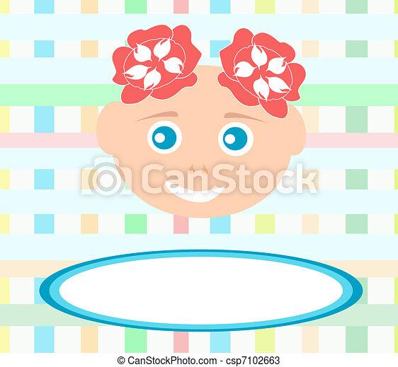 Vector van schattig abstract baby het glimlachen meisje bakground csp7102663 zoek naar - Beeld het meisje van ...