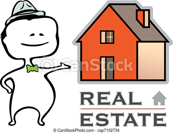 Real estate - a real estate agent and a house - vector illustration in cartoon type - The document can be scaled to any size without loss of quality. - csp7102734