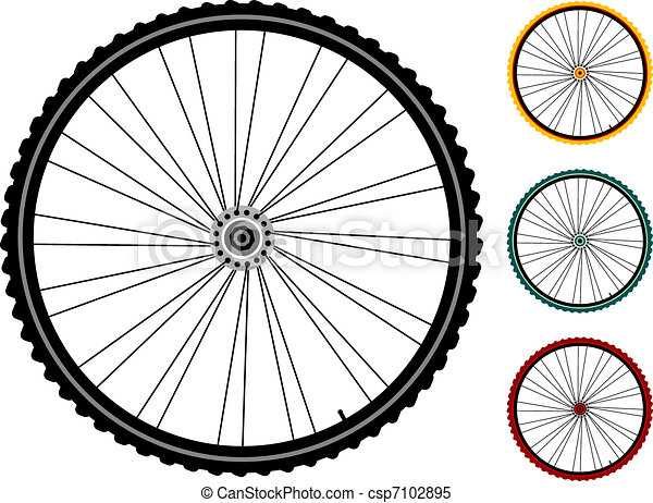 set bicycle wheels isolated on white - csp7102895