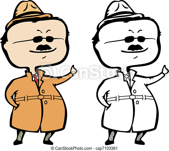 Private detective or inspector raising his hand to announce the solution - vector illustration - The document can be scaled to any size without loss of quality. - csp7103361