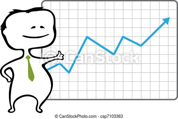 Happy trader and a chart with a rising blue arrow - vector illustration in cartoon style - The document can be scaled to any size without loss of quality.  - csp7103363