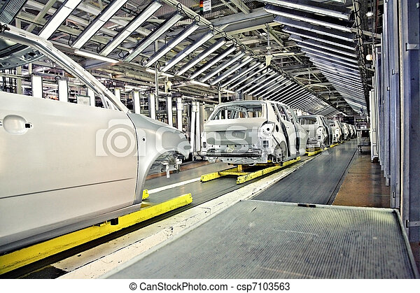 cars in a row at car plant - csp7103563