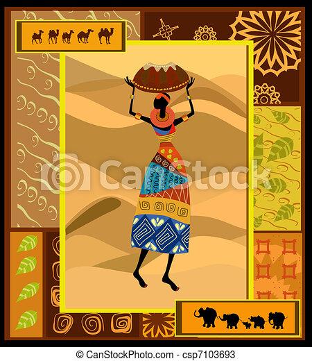 ethnic pattern c pretty woman - csp7103693