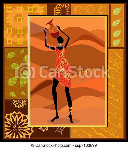 African girl dressed in a decorative - csp7103699