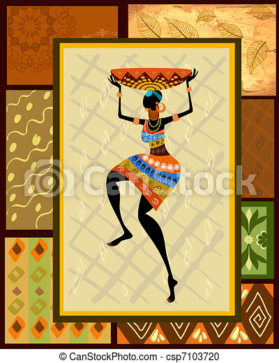 African girl dressed in a decorative - csp7103720