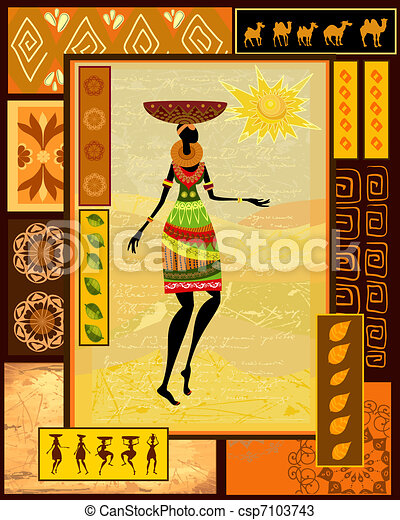 African girl dressed in a decorative - csp7103743