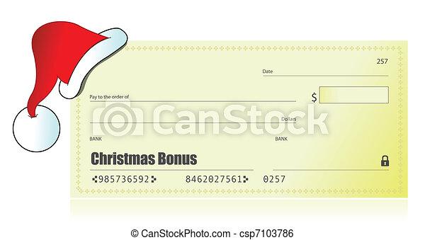 Christmas bonus check illustration  - csp7103786