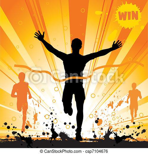 Silhouette of a Man Winner - csp7104676