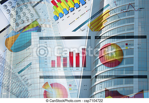 building and business papers, business collage - csp7104722