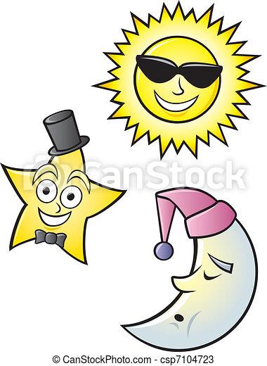 Cartoon Sun Moon and Star - csp7104723