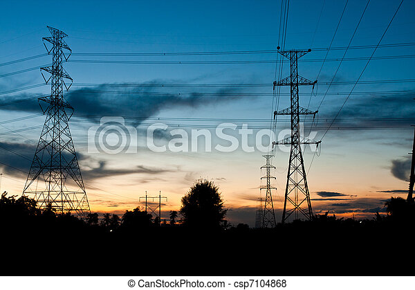 Electricity poles in twilight time - csp7104868
