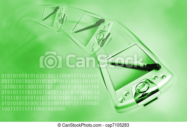 Pda on green abstract background - csp7105283