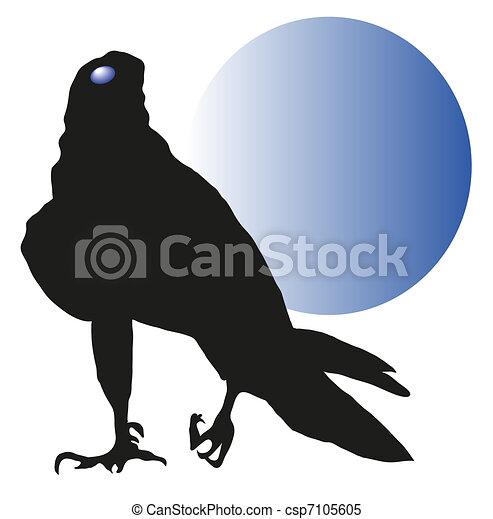 vulture against a blue moon vector - csp7105605