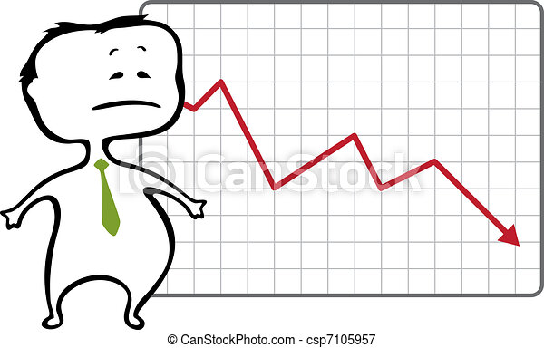 unhappy trader and a drop chart with falling red arrow - vector illustration in cartoon style - The document can be scaled to any size without loss of quality.  - csp7105957
