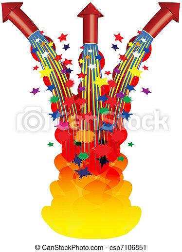 Vector Clip Art of fireworks - three fireworks shooting upwards ...