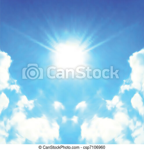 Sun Shining Bright In The Skies. Vector - csp7106960