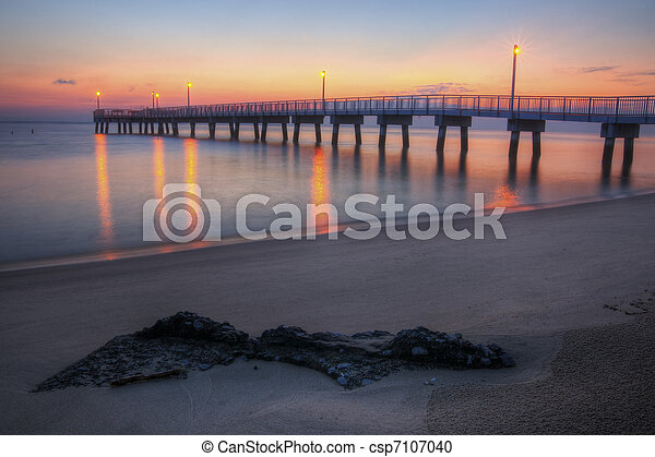 Woodland Beach Fishing Pier Dawn - csp7107040